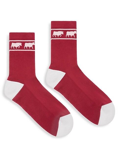 Image of Part of the Bally Animals collection, these cotton socks feature the cow print as a trim around the ankle. Cotton. Machine wash. Made in Italy.