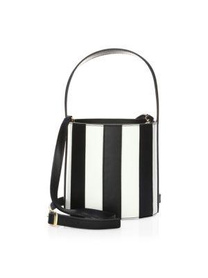 Bissett Striped Leather Bucket Bag, Black White