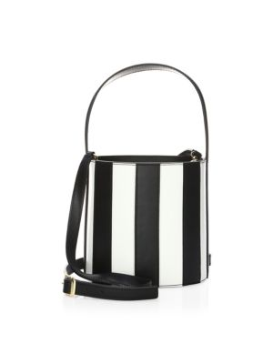 Bissett Striped Leather Bucket Bag by Staud