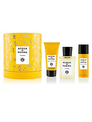 Image of $193 VALUE The signature Colonia gift set includes Eau de Cologne, Hair & Shower Gel and a Deodorant Spray for a long-lasting citrus freshness on-the-go. Presented in a special gift box decorated with a festive design by British artist, Clym Evernden. Mad