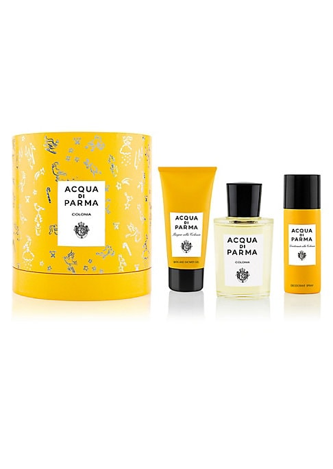 Image of $193 VALUE. The signature Colonia gift set includes Eau de Cologne, Hair & Shower Gel and a Deodorant Spray for a long-lasting citrus freshness on-the-go. Presented in a special gift box decorated with a festive design by British artist, Clym Evernden. Ma