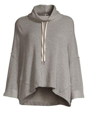 Funnel-Neck Drop-Shoulder Sweater, Heather Grey