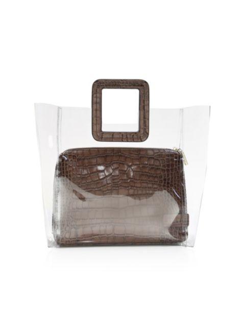 Staud Shirley PVC & Croc-Embossed Leather Tote | SaksFifthAvenue