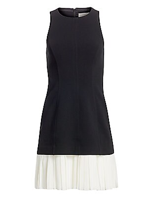 "Image of A flirty pleated hemline updates this casual colorblock dress. Roundneck Sleeveless Concealed back zip Flounce hem Triacetate/polyester Dry clean Imported SIZE & FIT A-line silhouette About 30"" from shoulder to hem Model shown is 5'10"" (177cm) and wearing"