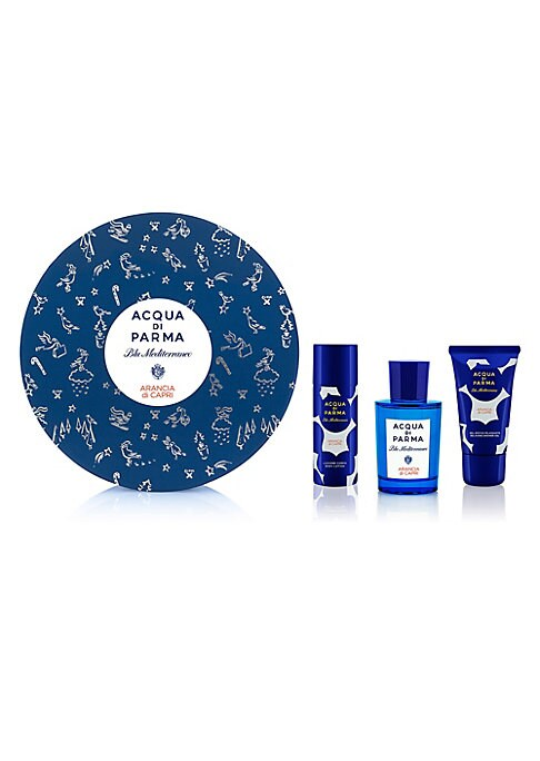 Image of $135 VALUE. WHAT IT IS. The three-piece Arancia di Capri gift set is infused with the signature orange scent of Capri Island, and is presented in a special gift box festively decorated by British artist Clym Evernden. Olfactory family: Citrus musk. Made i