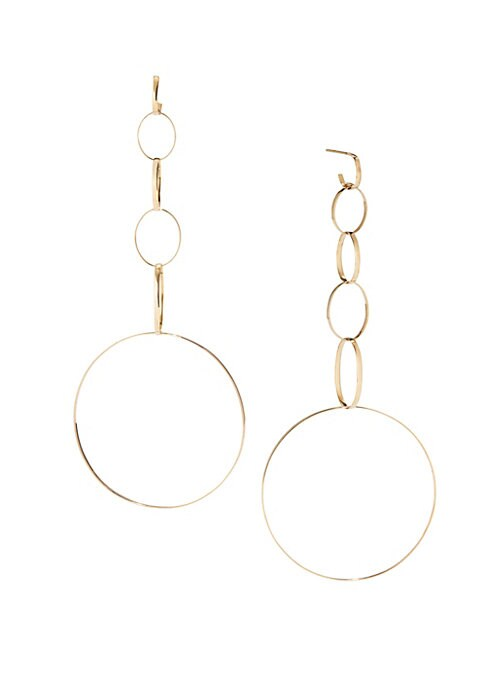 """Image of Multi-drop earrings finished with a large hoop.14k gold. Post back. Imported. SIZE. Drop, 4.3""""drop. Width, 1.8""""."""