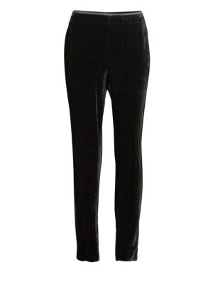 Velvet Track Pants With Piping, Black