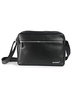 fa84a0713f69 Leather Messenger Bag BLACK WHITE. QUICK VIEW. Product image