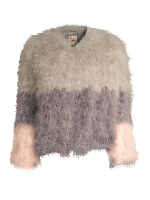 Fluffy Feather Jacket in Spring Wild