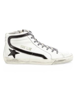 GOLDEN GOOSE High-Top Leather Star Sneakers, White Leather-Leopard Lace