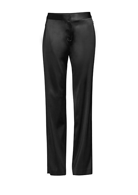"""Image of Luxurious satin pant with a streamlined straight leg. Button waist closure. Zip fly. Zip waist pockets. Polyester/viscose/elastane. Dry clean. Imported. SIZE AND FIT. Rise, about 11"""".Inseam, about 34"""".Model shown is 5'10"""" (177cm) wearing US size 4."""