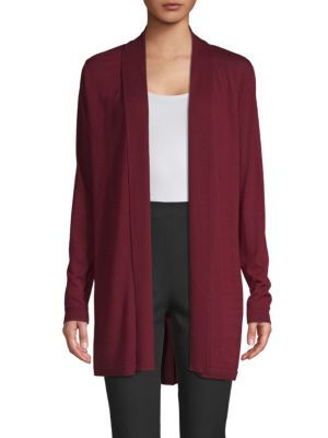 Adele Silk Back Merino Wool Cardigan in Red