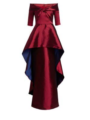 TERI JON BY RICKIE FREEMAN Stretch Gazar High-Low Peplum Gown in Crimson