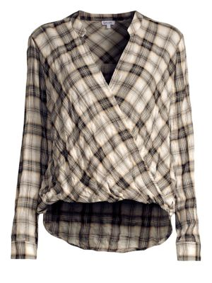 Surplice Long-Sleeve Washed-Plaid Cotton Shirt in Grey/Natural