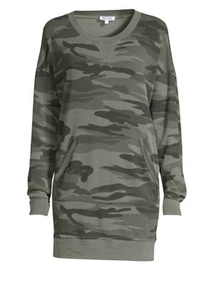 Camo-Print Crewneck Sweatshirt Dress in Green