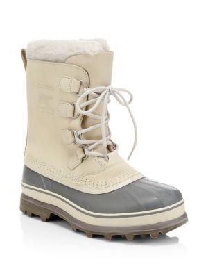 Men'S Caribou Faux Sherpa-Lined All Weather Waterproof Duck Boots in Beige