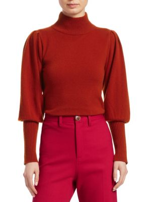 Cailyn Turtleneck Puff-Sleeve Cashmere Sweater in Yellow