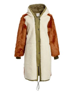 Madeline Canvas-Trimmed Paneled Faux Fur And Faux Shearling Coat, Cream Brown