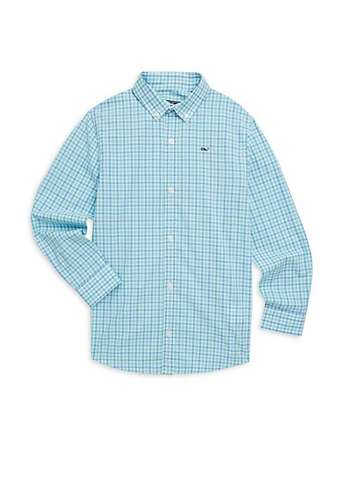 Image of Picture-perfect shirt with sweet whale embroidered logo is crafted in a fresh cotton plaid finish. Shirt collar. Long sleeves. Button front. Button cuffs. Cotton. Machine wash. Imported.