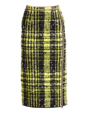 A-Line Checkered Midi Skirt in Yellow