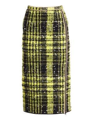 Nº21 Cheked Print Pencil Skirt - Yellow, Checked