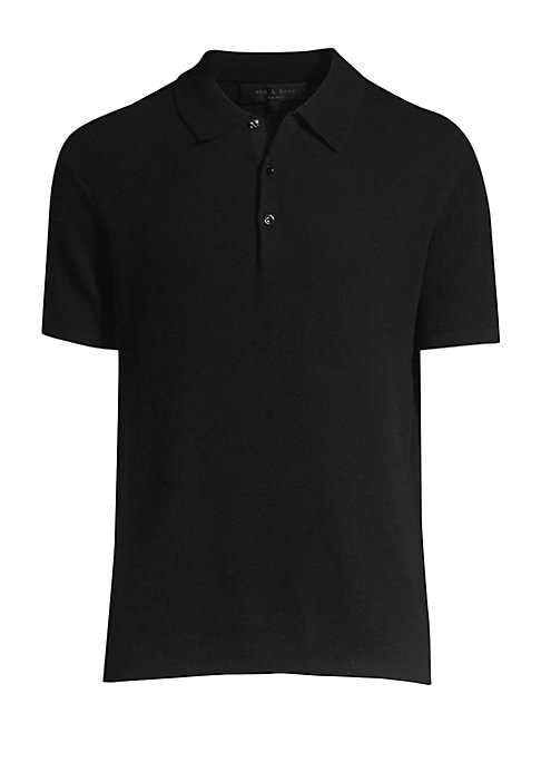 "Image of Classic polo tee in a stretch wool-blend. Point collar. Short sleeves. Pullover style. Three button placket. Cotton/wool/nylon/spandex. Dry clean. Imported. SIZE & FIT. Regular fit. About 26"" from shoulder to hem."