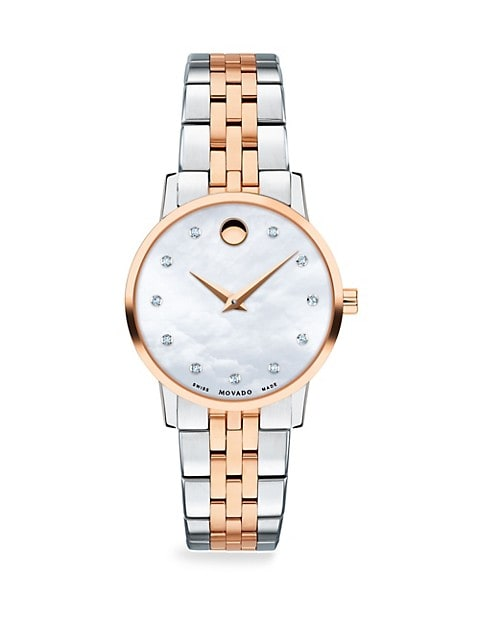 Mother-of-Pearl, Rose-Goldplated, Stainless Steel & Diamond-Trim Bracelet Watch