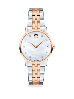 Movado Mother Of Pearl Rose Goldplated Stainless Steel Diamond Trim Bracelet Watch