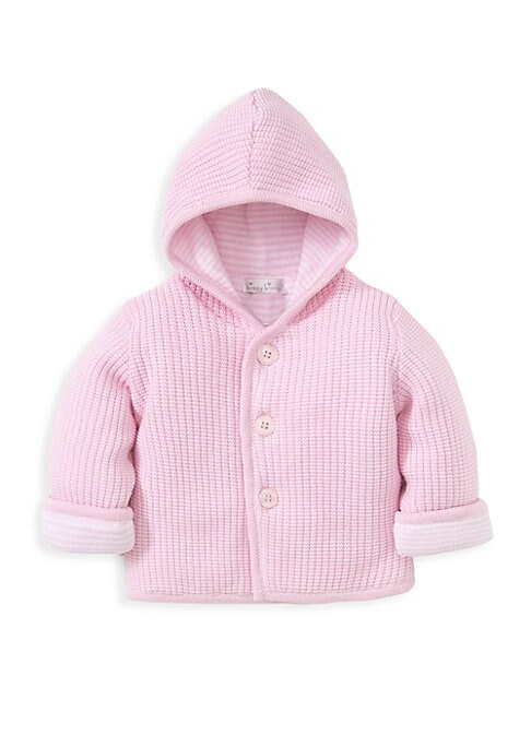 Image of Plush cotton knit jacket with adorable contrasting striped lining. Attached hood. Long sleeves. Contrast roll-up cuffs. Button front. Cotton. Machine wash. Imported.