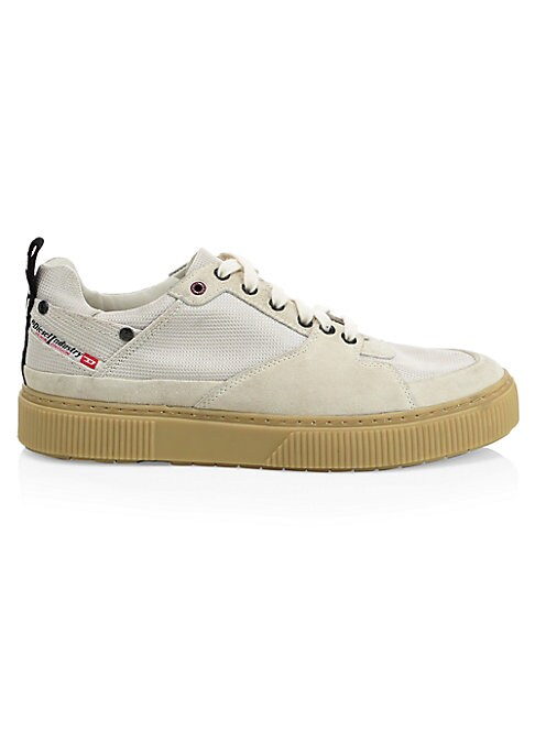 Image of Suede panel tennis-inspired shoe with contrast logo tag at the heel. Nylon and suede upper. Leather and textile lining. Rubber sole. Imported.