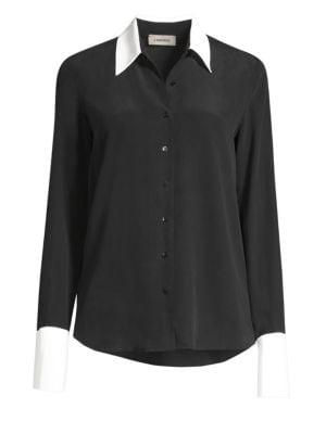 Mia Cuffed Silk Button-Front Blouse in Black