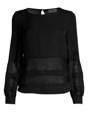 Petra Lace Panel Blouse, Black
