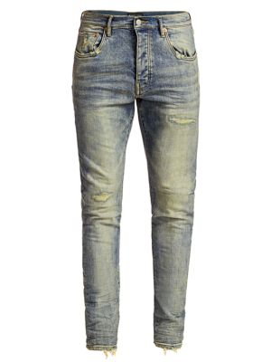 PURPLE P001 Slim Fit Distressed Jeans in Light Indigo