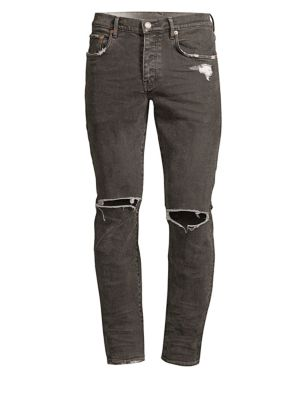 PURPLE P001 Slim Fit Coated Ripped Jeans in Grey Coated White