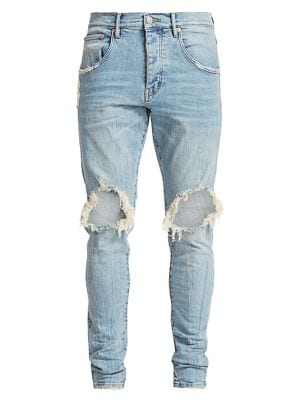 PURPLE P002 Slim Dropped Fit Ripped Jeans in Light Indigo