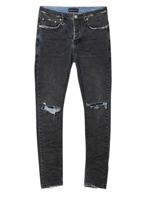 PURPLE P001 Slim Fit Ripped Jeans in Indigo