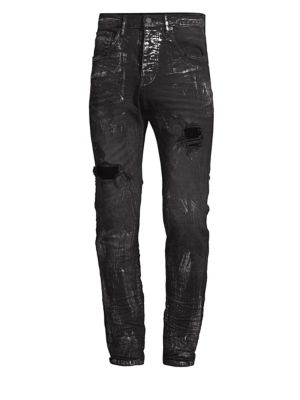 PURPLE P002 Slim Dropped Fit Jeans in Black Blowout Metallic
