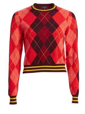 Dex Cropped Argyle Crewneck Sweater, Burgundy