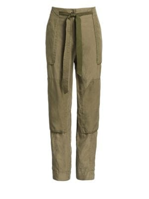 Rag And Bone Green Silk Henri Trousers, Light Olive