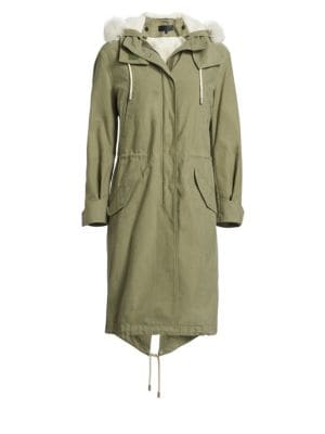 Penelope Oversized Cotton-Canvas Parka, Light Green