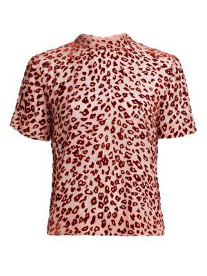 Gia Leopard Print Burnout Velvet Tee, Pink Rust
