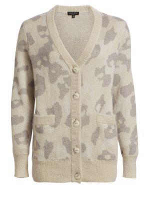 Rag & Bone Cardigans Leopard Print Oversize Cardigan