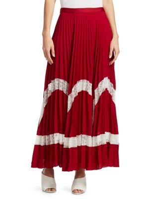 Regina Pleated Maxi Skirt, Ruby White