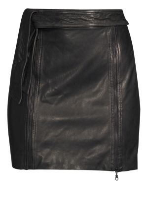 Christina Leather Zip Mini Skirt in Black