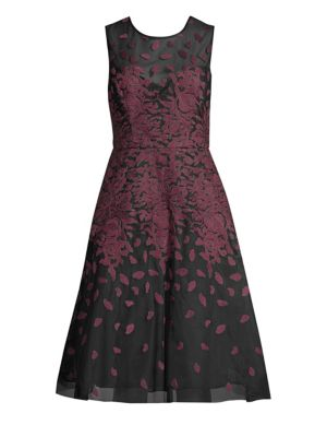 BCBG MAX AZRIA Floral Embroidered A-Line Dress in Bordeaux Combo