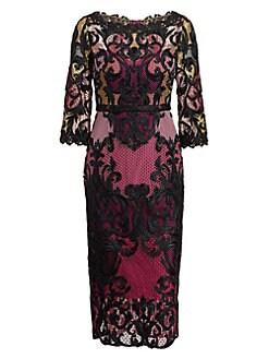 4b6745b9 QUICK VIEW. Marchesa Notte. Lace Colorblock Midi Dress