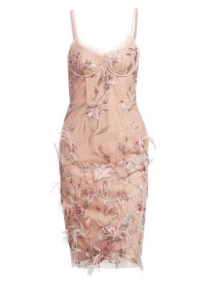 MARCHESA NOTTE Ostrich Feather Trim Embroidered Corset Dress in Pink
