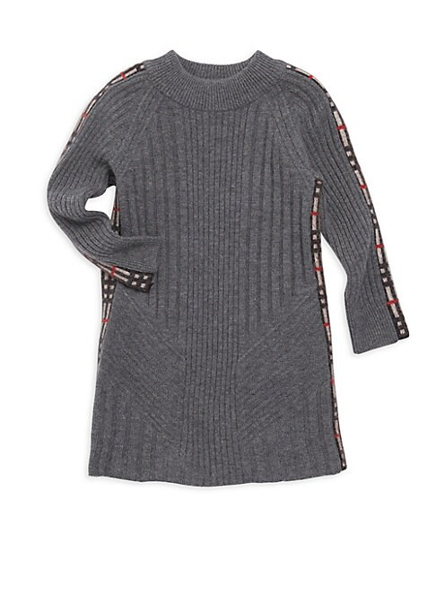 Little Girls  Girls Cathina CheckDetail Sweater Dress