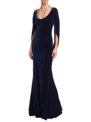 Platinum Velvet Drape Sleeve Gown, Sapphire
