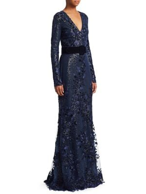 Velvet Sequin Gown by Badgley Mischka